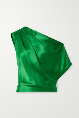 Mason by Michelle Mason One-shoulder Draped Silk-satin Top - Green