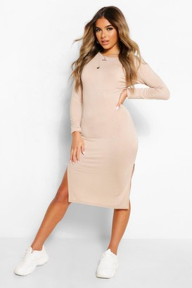 boohoo Petite Long Sleeve Split Detail Midi T-Shirt Dress