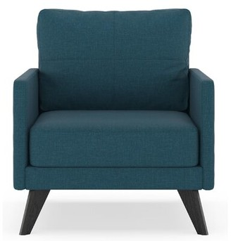 Corrigan Studio Crocker Armchair Fabric: Aubergine Polyester, Leg Color: Black