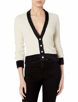 ASTR the Label Women's V-Neck Long Sleeve BI-Coastal Two Toned Cropped Button UP Cardigan