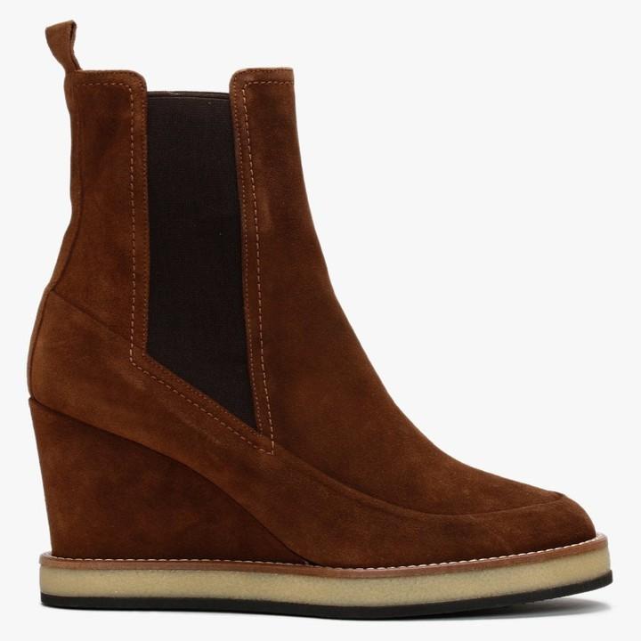 Daniel Naro Tan Suede Wedge Chelsea Boots