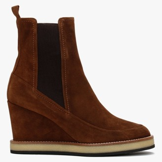 Daniel Naro Tan Suede Wedge Chelsea Boots