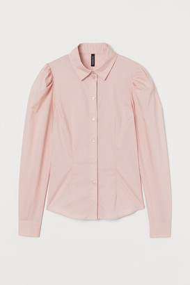 H&M Puff-sleeved Shirt - Pink