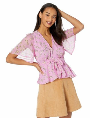 ASTR the Label Women's Stevie Flutter Sleeve TIE Front Printed Blouse TOP