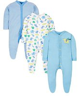 Mothercare Baby Boys' Happy Animals-3 Pack Bodysuit,Newborn (Manufacturer Size: New 7.5Lbs)