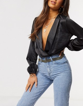 ASOS DESIGN black rhinestone gold chain waist and hip belt