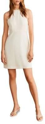 MANGO Lace-Trimmed Mini Dress