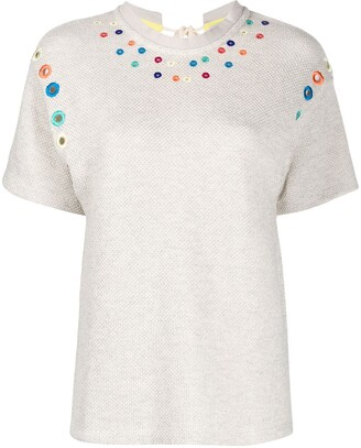 Mira Mikati embroidered tie-back T-shirt