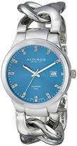 Akribos XXIV Women's AK759SSTQ Swiss Quartz Movement Watch with Blue Sunburst Effect Dial and Silver Twist Chain Bracelet