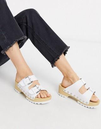 Calvin Klein Vancy chunky cleated clogs in white