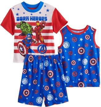 Iron Man Boys 4-10 Marvel Avengers Iron Man, Captain America & The Incredible Hulk Tops & Shorts Pajama Set