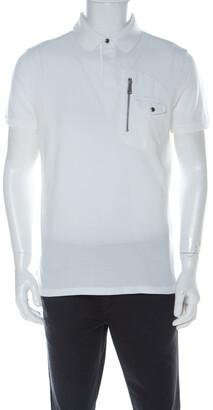 Ralph Lauren White Cotton Pique Zipper Patch Pocket Detail Polo T Shirt L