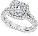 Marchesa Certified Diamond Square Halo Engagement Ring (1-1/4 ct. t.w.) in 18k White Gold