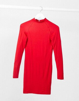 ASOS DESIGN long sleeve sexy back mini dress in red