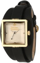 Vivienne Westwood Women's VV008GDBK Stainless Steel Cube Gold Watch With Black Leather Band