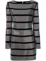 Balmain crystal-embellished striped dress