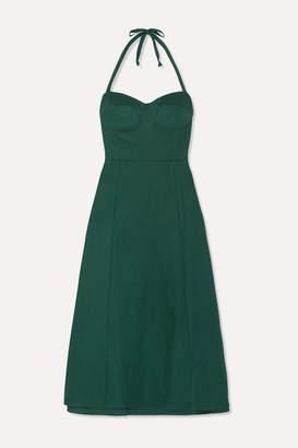 Reformation Jana Linen Halterneck Midi Dress - Green