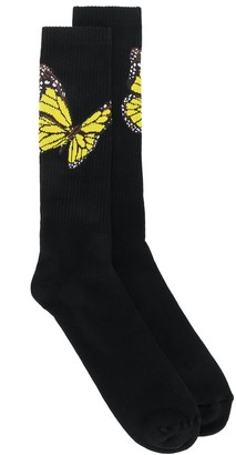 Palm Angels Butterfly Intarsia Socks
