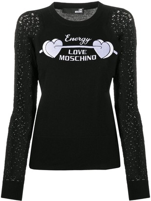 Love Moschino Embroidered-Sleeve Logo Jumper