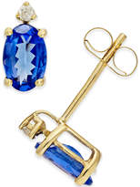 Macy's Tanzanite (3/4 ct. t.w.) and Diamond Accent Stud Earrings in 14k Gold