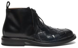Bottega Veneta Intrecciato Leather Desert Boots - Black