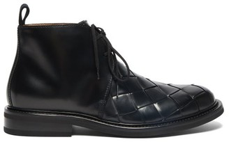 Bottega Veneta Intrecciato Leather Desert Boots - Mens - Black