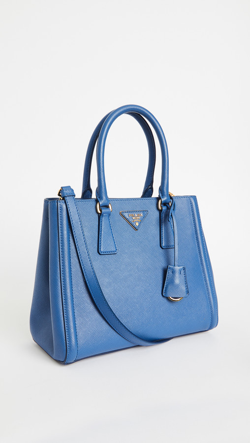 What Goes Around Comes Around Prada Blue Saffiano Handbag