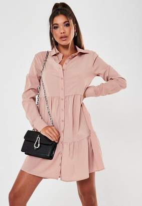 Missguided Blush Button Front Crepe Smock Shirt Dress
