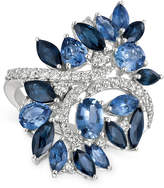 LeVian Le Vian Precious Collection® Sapphire (4-3/8 ct. t.w.) and Diamond (1/2 ct. t.w.) Statement Ring in 14k White Gold, Only at Macy's