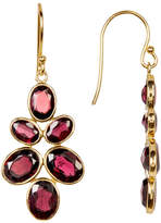 Argentovivo 18K Gold Plated Faceted Stone Leaf Drop Earrings