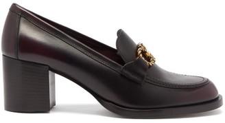 Salvatore Ferragamo Gancini Chain Leather Loafers - Burgundy