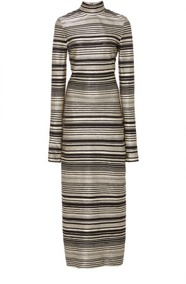 Christian Siriano Metallic Striped Knit Dress