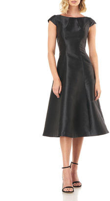 Kay Unger New York Ella Cap-Sleeve Midi Twill Dress