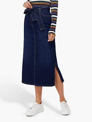 Monsoon Claremont Maxi Skirt, Denim Blue