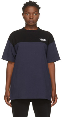 Vetements Black and Navy Cut Up Logo T-Shirt