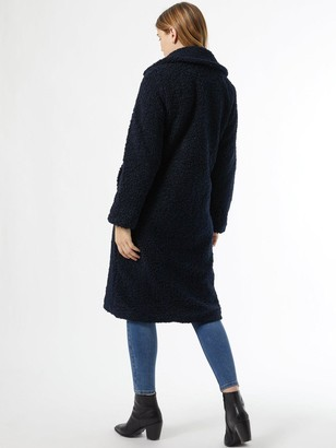 Dorothy Perkins Super Long Teddy Coat - Navy