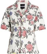 House of Holland Floral-print short-sleeved denim shirt