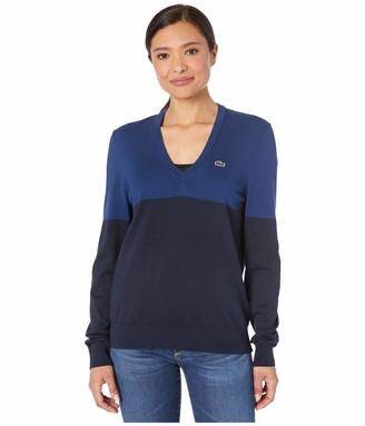 Lacoste Women's V-Neck Colorblock Jersey Sweater