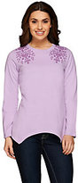 Denim & Co. As Is Long Sleeve Handkerchief Hem Top with Embroidery