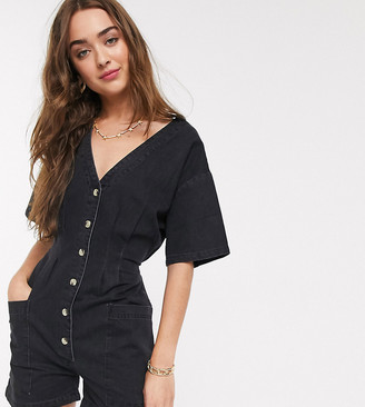 ASOS DESIGN Petite soft denim relaxed romper in black
