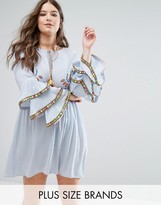 Alice & You Embroidered Skater Dress With Tiered Frill Sleeves