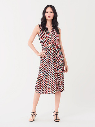Diane von Furstenberg Delilah Silk Crepe de Chine Belted Midi Dress