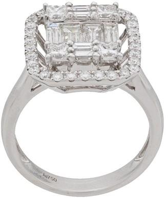 Monan 18kt White Gold Diamond Square Ring
