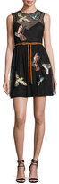 RED Valentino Sleeveless Point d'Esprit Dress w/ Embroidered Hummingbirds, Nero