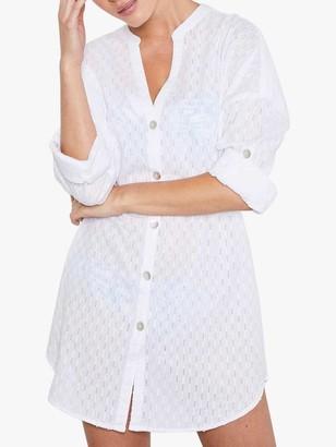 Mint Velvet Cotton Dobby Shirt, White Ivory