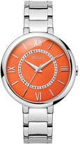 Stainless Steel Women's Wrist Watch - Orange Dial With Roman Numerals & Cubic Zirconia Accents - Analog Display, Japanese Quartz - Twist Collection By Reina V