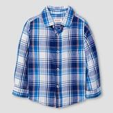 Cat & Jack Toddler Boys' Plaid Button Down Shirt Cat & Jack - Navy 5T
