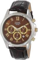 Pulsar PT3397 Men's Chronograph Stainless Leather Band Dial Watch