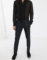 Twisted Tailor super skinny trousers with silver piping in black