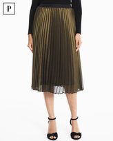 White House Black Market Petite Pleated Metallic Midi Skirt